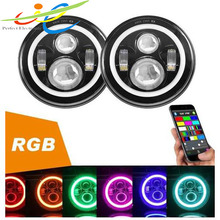 Angel eyes motorcycle headlights 7 inch 40W for Jeep Wrangle with RGB bluetooth control
