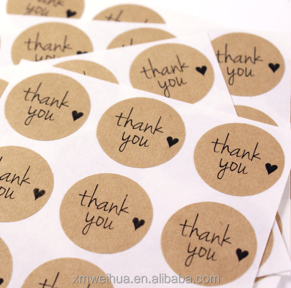 THANK YOU & mini HEART kraft brown labels - 1 inch round Kraft stickers - envelope seals, gift wrapping, packaging