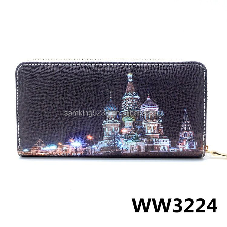 Girls Classical Cross Pattern PU Print Women Zipper Wallet Purse For Travel Gift