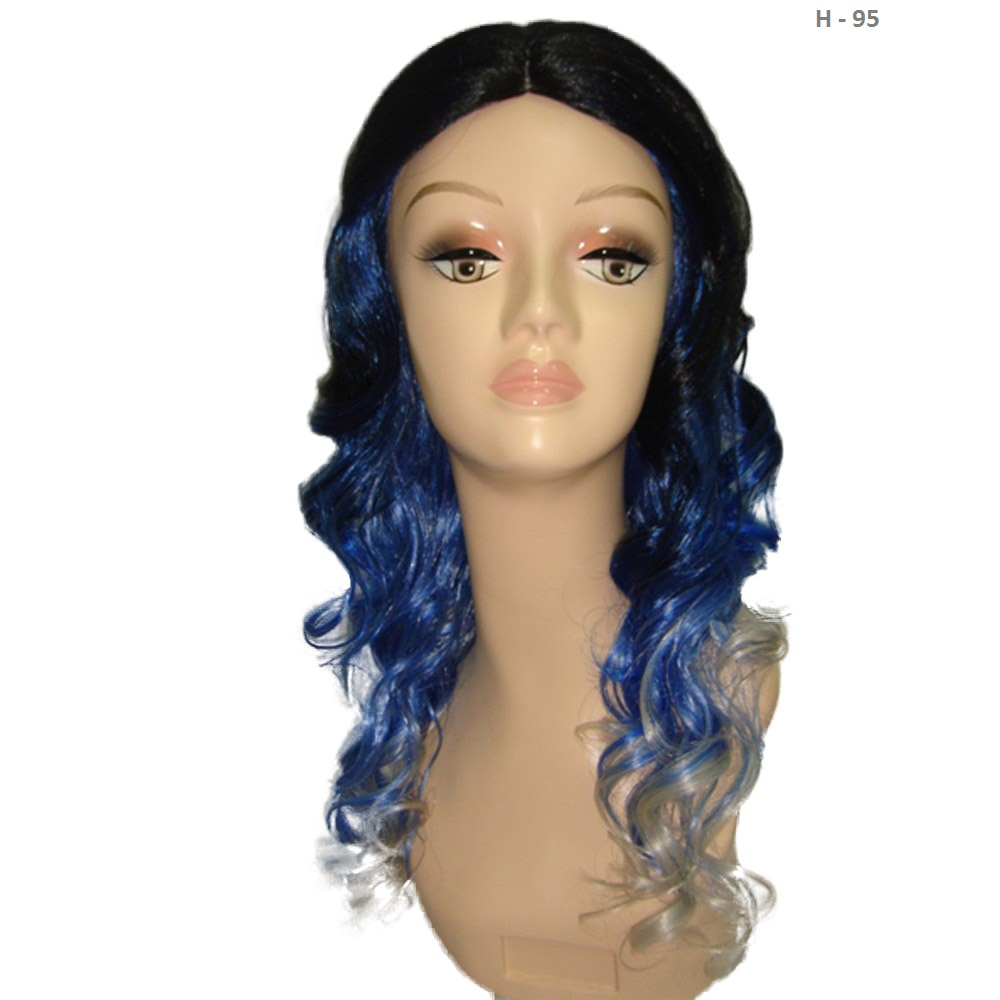 Two-Tone Long Wavy Wig Black, Purple And Blue