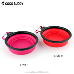 Hot Pink Colors Multifunctional Foldable Eco-friendly Silicone Travel Pet Dog Bowls Wholesale