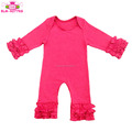 Fall Winter Infant & Toddlers Clothing Triple Ruffle Icing Jumpsuit Boutique Solid Hot Pink Baby Long Sleeve Icing Romper