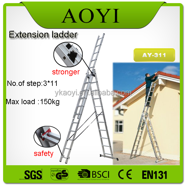 Aluminium Ladder,Aluminum three section extension ladder