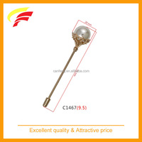 Brass metal long needle flower brooch with pearl for suit