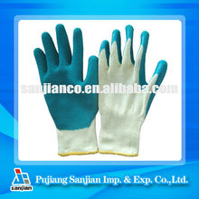 Fine yellow cotton(21)lined glove coated with green latex wrinkle palm