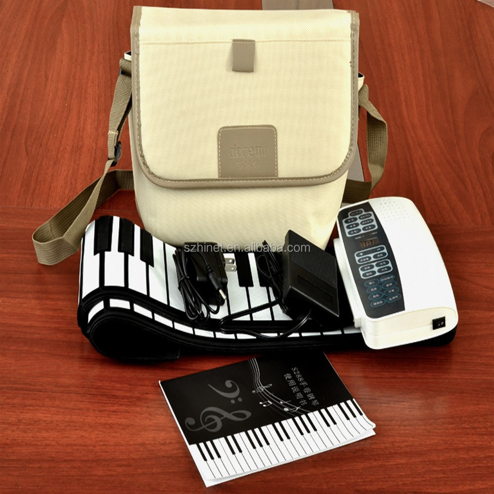 Portable Flexible Roll Up Electronic Piano 88 Keys Soft Keyboard Drums Tone MIDI