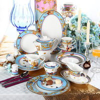 124 Pieces Luxury Turkish Dinner Set Fine Bone China