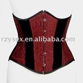 corset,underbust,Red & Black satin