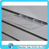 Flat pvc acrylic slatwall display rack, plexiglass display shelves custom