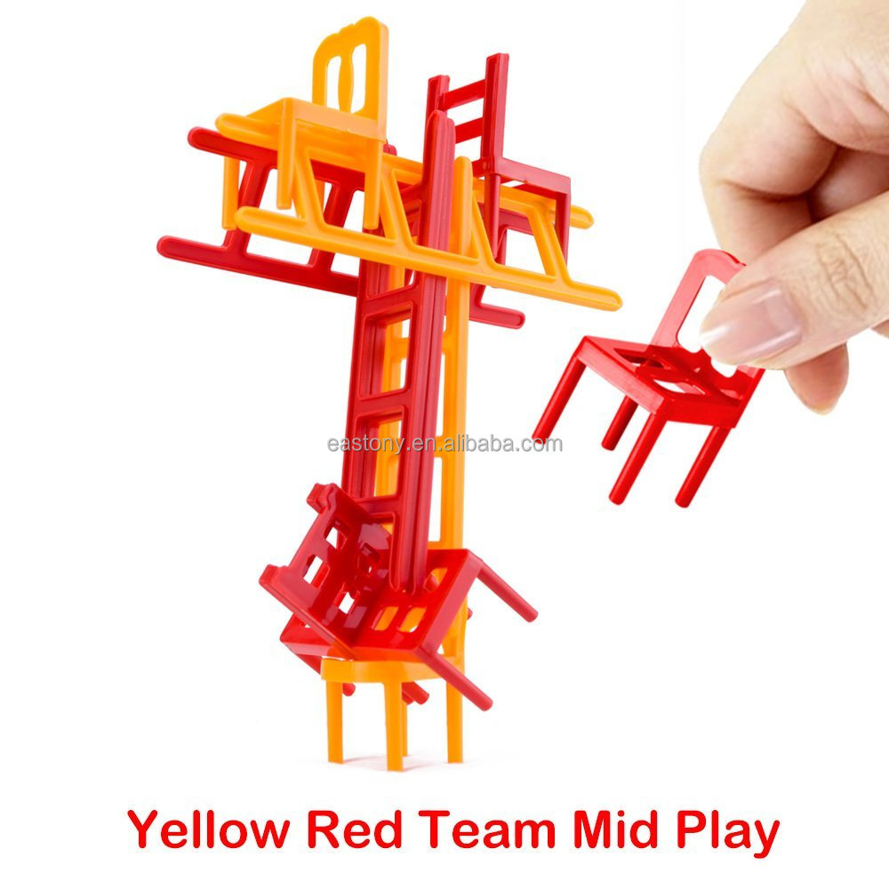 EASTONY Chairs and Ladders Game. 44 Individual Pieces. Family Game Stack and Balance the Most.