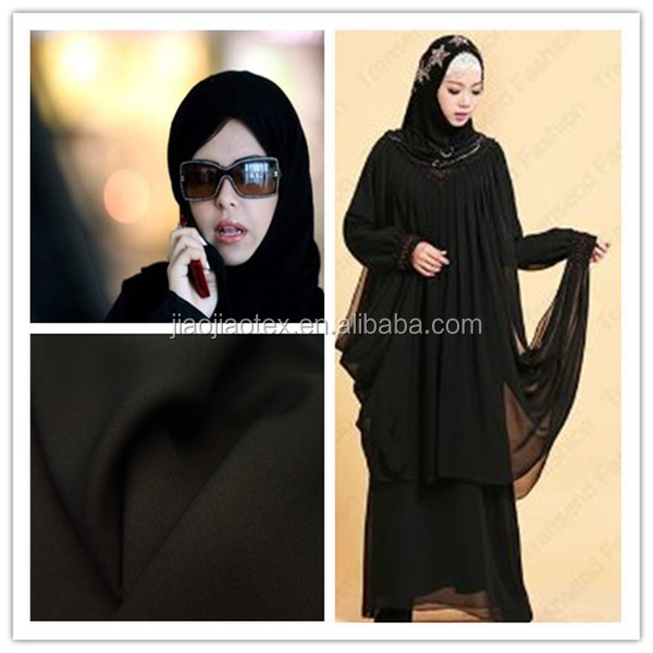 Crystal satin formal black abaya fabric