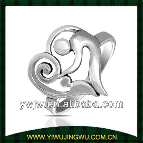 Mother and Child 925 Sterling Silver Swirl Heart Ring