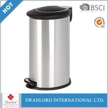 Large foot pedal waste bin trash bin with safe buffered device cover