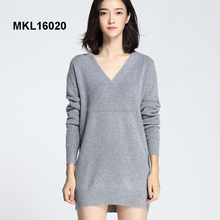 Sexy low cut v neck women tops long knit design sweater