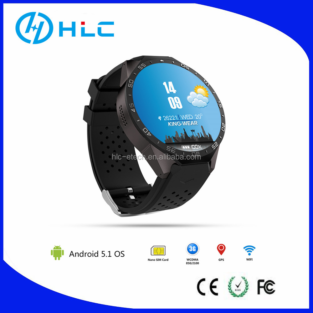 Android Smartwatch KW88,android5.1,quad core,wifi 3G ,GPS,1.39 inch AMOLED whole round HD