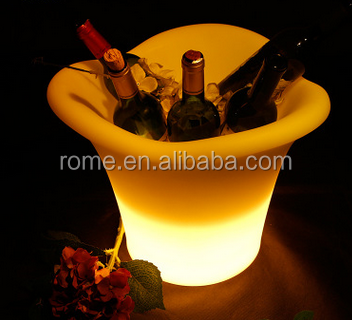 clear plastic champagne ice bucket/illuminated led wine cooler