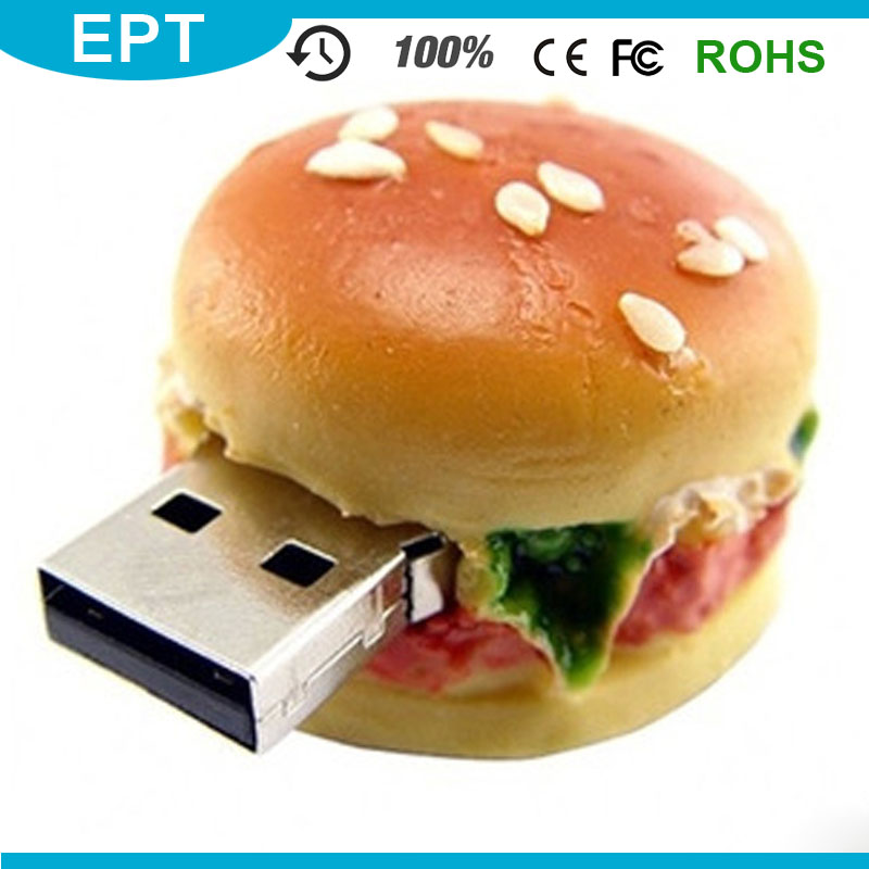 Hamburger PVC Customized Shape food Giveaway Gift USB Flash Drive