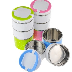 Round Shape Metal Dome Lunch Box Insulated Three Layer Child Tiffin 304 Stackable Stainless Steel Lunch Box Malaysia With Handle