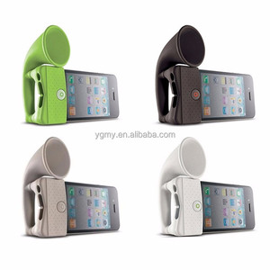Cute Silicone Horn Stand Portable Mini Wireless Speaker Loudspeaker Amplifier for for iPhone 4 Smart Phone random color