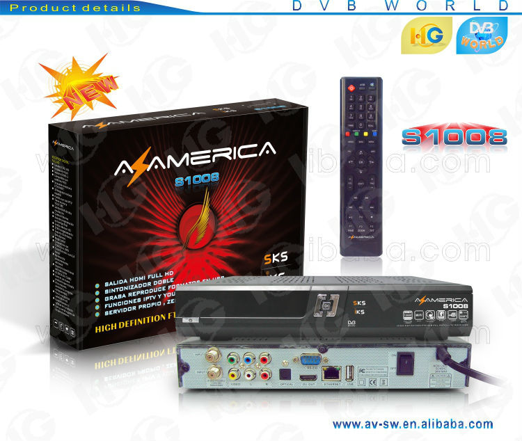 Original azamerica s1008 with free IKS SKS IPTV decode 61W better than Duosat for south america