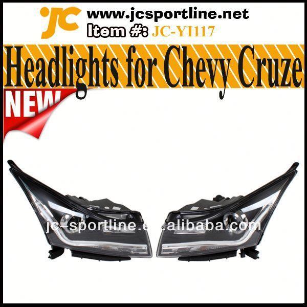 High Power Plastic LED Front Headlights Angel Eye For Chevrolet Chevy Cruze