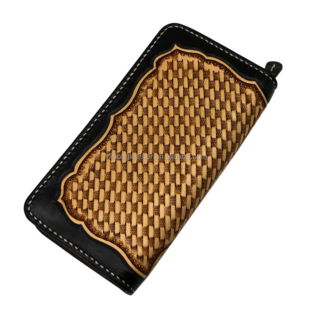 Italian Vegetable Tanning Leather 3D Carved Purse Mat Braiding Embossing High-end Custom Manual Sewing Versatile Western Wallet