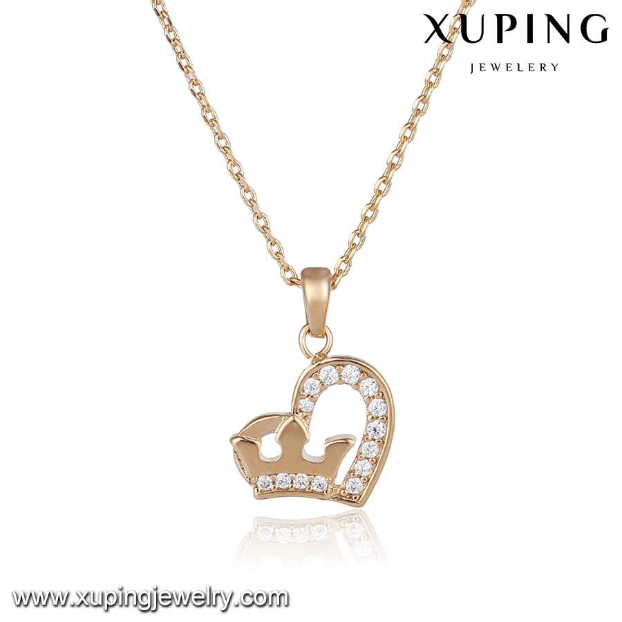 43973 indian bridal jewelry necklace online 18k heart crown type pendant gold plated jewelry necklace