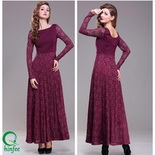 D083 Women U Back Muslim Maxi Long Lace Evening Dress