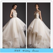 Latest Vintage Sleeveless Embroided bridal Dress Organza Layered wedding mother of the bride Beach wedding dress 2015(YASA-2091)