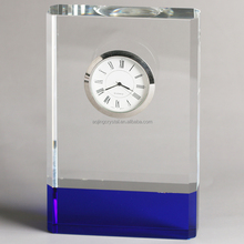 clear and blue blank crystal table desk clock for customized gift
