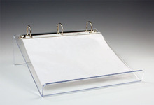 3 ring binder clear acrylic book stand, slant lucite leaflet easel, perspex file paper holder