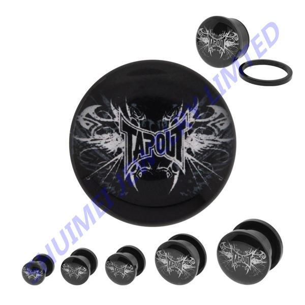 Black Acrylic Single Flared With Tapout Logo Ear Plug Tunnel Stretcher Earring Gauge Kit Piercing Body Jewelry