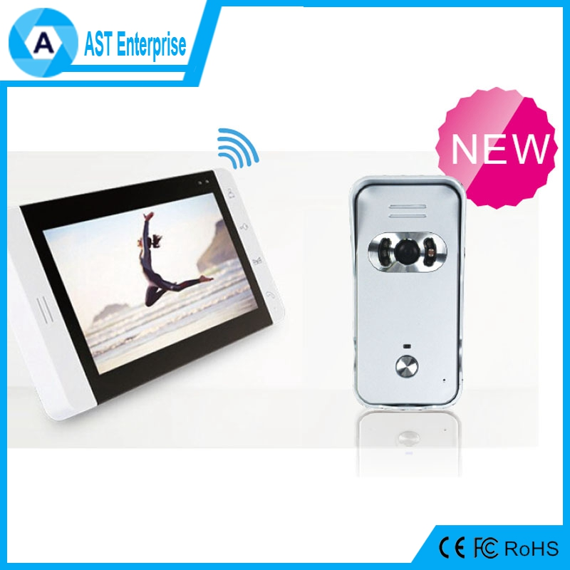 7inch Wireless video door phone /Wireless 2.4G Video intercom Doorphone With Rechargeable lithium battery