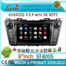 the multimedia android4.0.4 car dvd player for Mazda5/Premacy with gps navigation