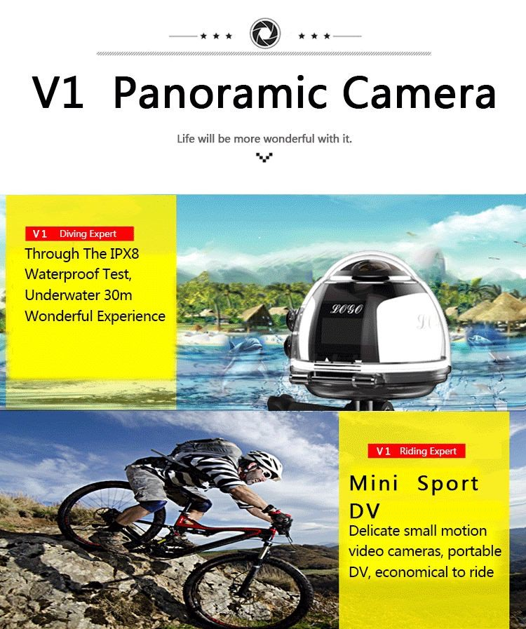 360 Degree Mini Sports 3D VR CCTV camera panoramic waterproof 40m wifi 4k action camera camcorder 16MP DVR Player