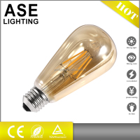 2016 hot sale golden glass amber glass ST64 4w dimmable LED filament edison bulb