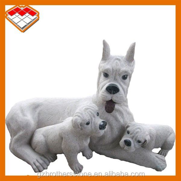 Stone carved mother and baby life size outdoor dog doberman dog statues for sale in guangzhou
