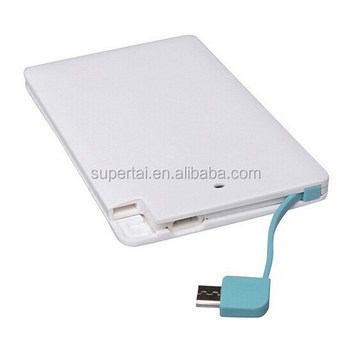Built-in cable cheap power bank credit card size mobile charger for smartphones