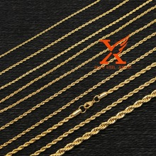 In Stock Hot Sale Low price Stainless steel 2mm 2.5mm 3mm 4mm 5mm Thick Gold Plated Rope Necklace Chains
