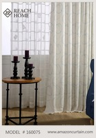 American style curtain design polycotton embroidery voile lined rod pocket curtain