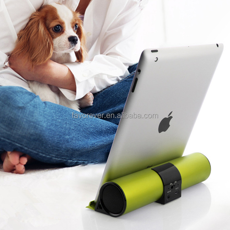 High quality rechargeable mini bluetooth sound bar speaker with holder stand and 3.5mm Aux Port for tablet/cellphone