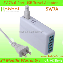 35W 5V 7A 6 Port USB adapter for iPhone 5s, 5c, 5, 4s, 4; iPad 5, Air, mini; ipod Touch, nano; Samsung Galaxy S4, S3,,
