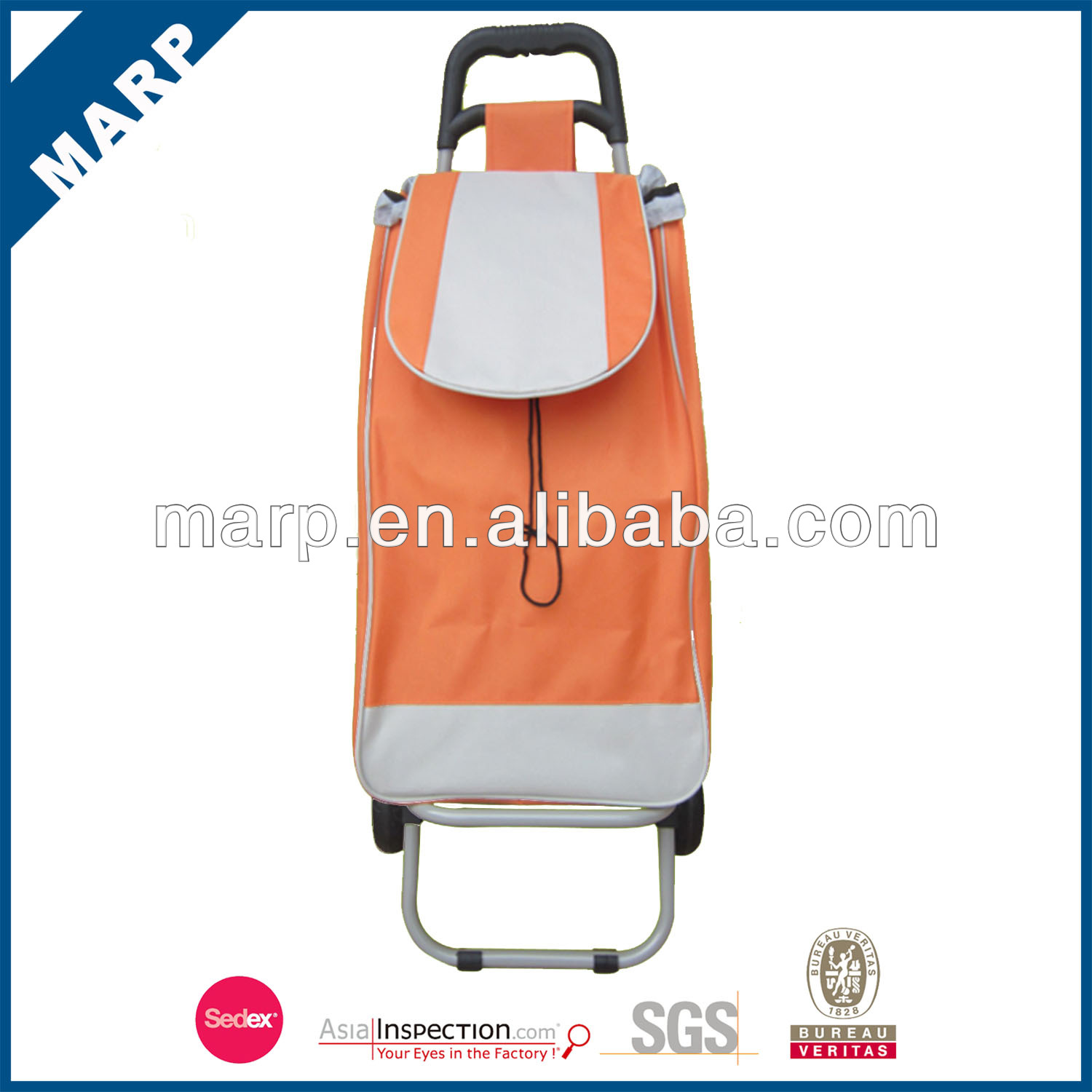 Portable orange trolley shopping bag
