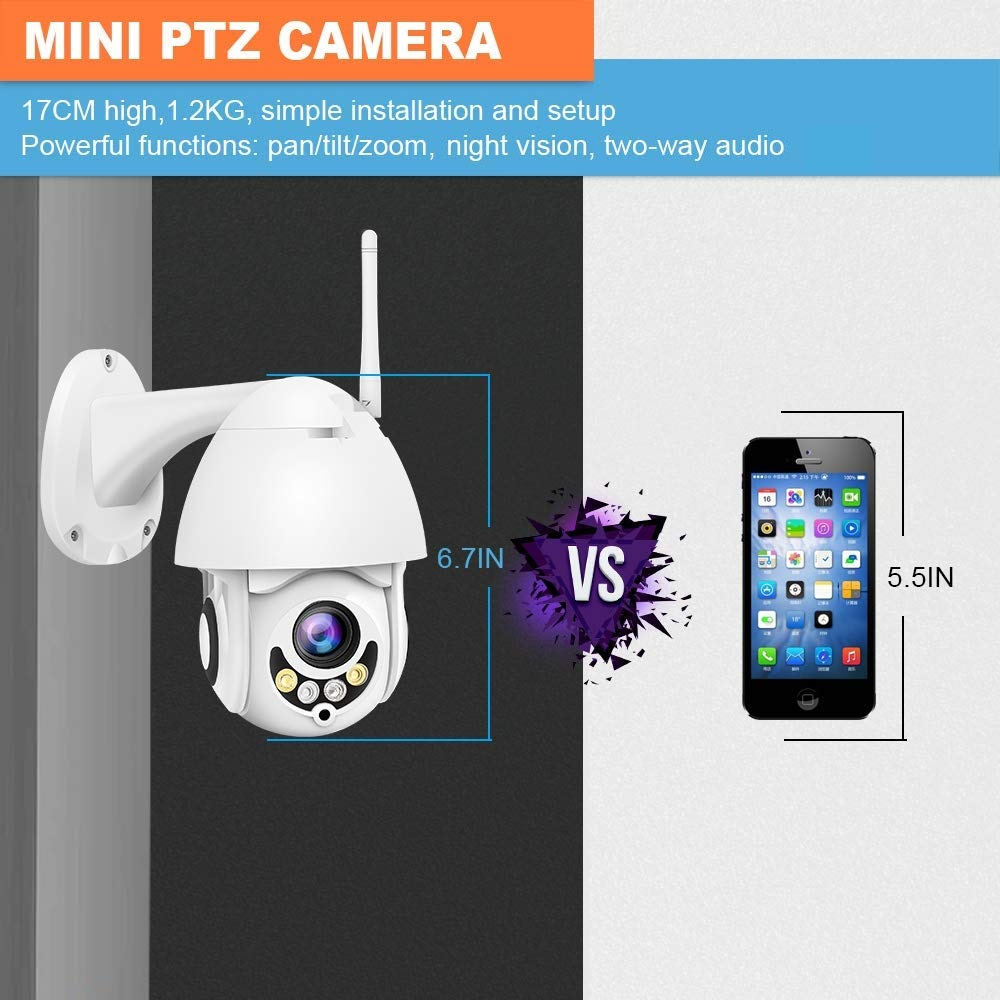 Outdoor 1080 p wifi wireless ptz mini ip dome camera met 5 xoptical zoom, 2 weg audio, nachtzicht, bewegingsdetectie