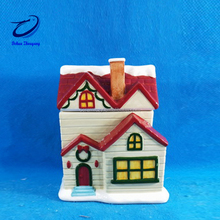 hand painted kitchen small ceramic house shape christmas candy jar