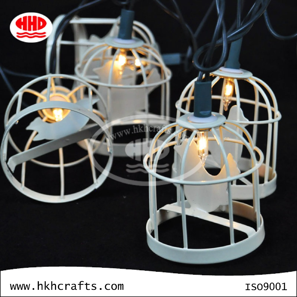 Outdoor String Lights Metal: Off-white Outdoor Decorative Light Metal Cage Led String