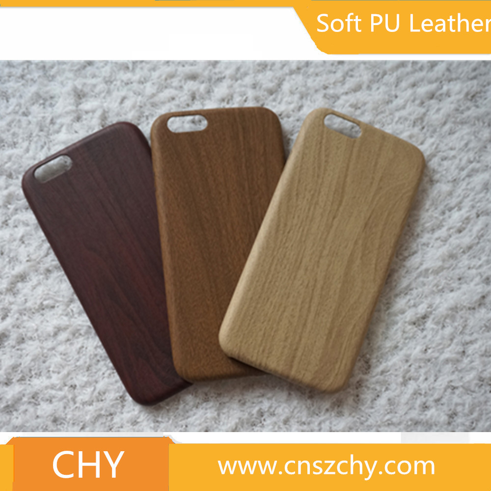 Ultra thin wood skin pu leather soft tpu back cover cell phone case for iphone 6