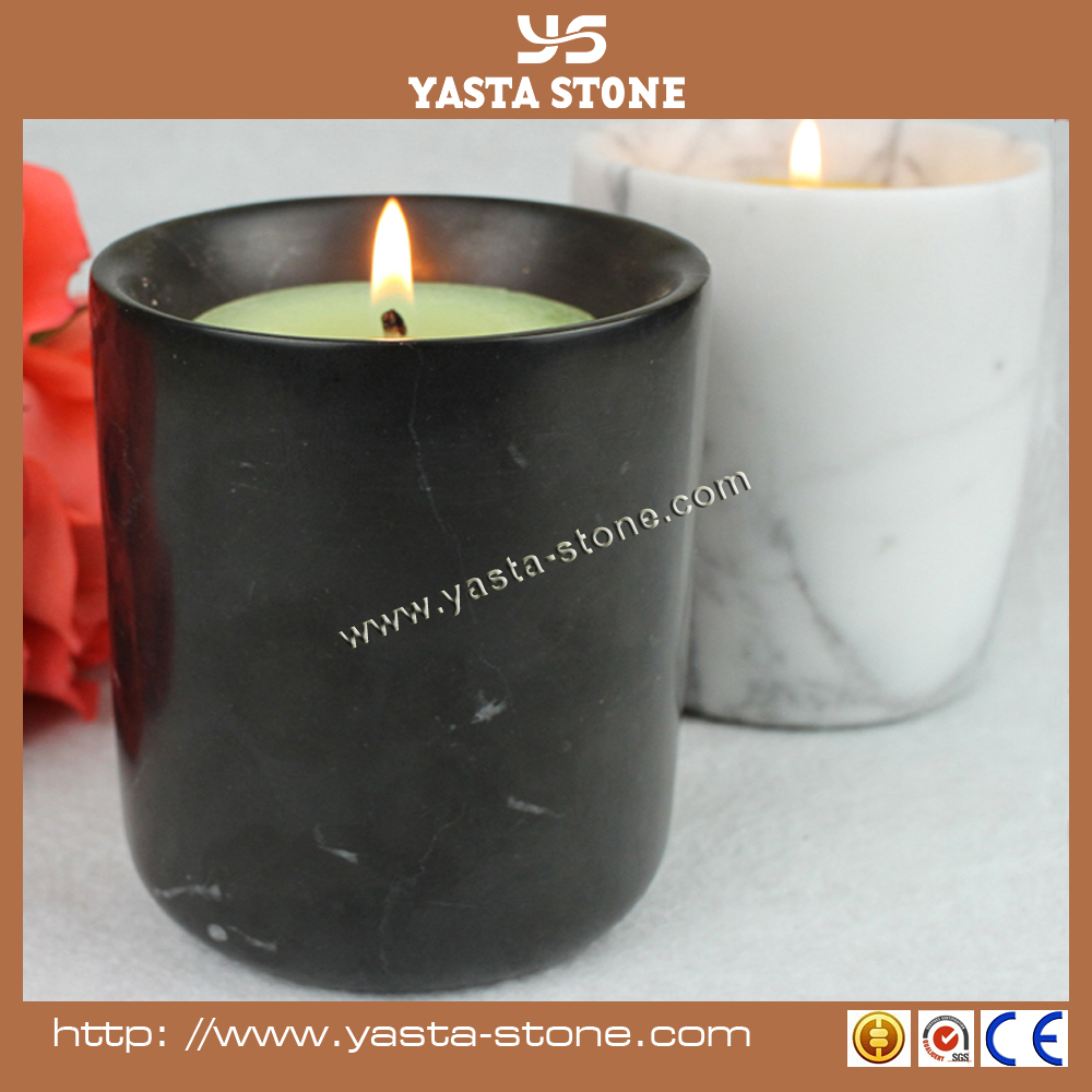 Marble handcraft gifts Nero Marquina black marble candle jars