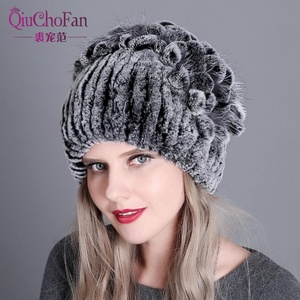 Wholesale Fashion Rex Rabbit Fur Beanie Women Plush Russian Style Knitted Real Fur Hat