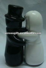 black and white lovers ceramic cruet jar set